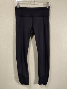 Lululemon Size 4 Black Crop Leggings Pants Wunder Inspire Run Pace Rival
