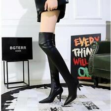 Womens New Pointy Toe Stiletto Heel Stretched Slim Fit Over Knee Boots Shoes @fz