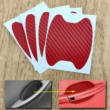 4x Red Carbon Fiber Car Door Handle Anti-Scratch Protective Film Stickers Set