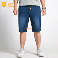 New Men's Plus Size Elastic Waist Denim Shorts Stretch Short Jeans Loose Pants
