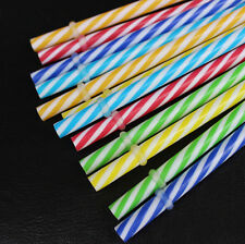 10Pc Colorful Reusable Hard Plastic Stripe Drinking Straw Clean Separate Packing