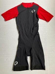 Pearl Izumi Mens ELITE Pursuit Tri Speed Suit Sz M Black Red Short Sleeve One Pc