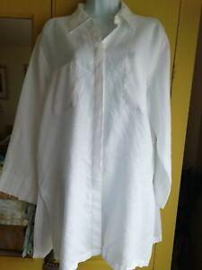Marks & Spencer white linen long shirt tunic size L