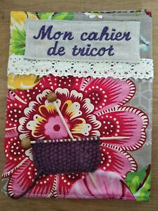 Mon cahier de tricot décor tissus broderie, fait main, 70 pages ;artisanal