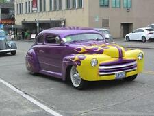 Old Photo.  1947 Purple/Yellow Ford DeLuxe Automobile