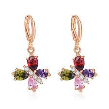 Butterfly Multi Color Morganite Garnet Peridot Rose Gold Plated Dangle Earrings