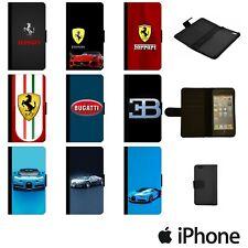 FERRARI BUGATTI VEYRON CHIRON FLIP WALLET PHONE CASE COVER APPLE iPhone FBLW00