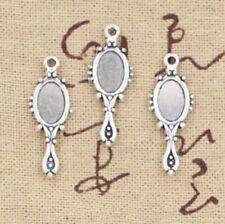15pcs Charm Silver Mirror Pendant Craft Finding Necklace Bracelet Making DIY