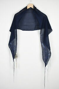 RRP$82 DIESEL 1-KRY SCIARP A Women One Size Cotton Silk Embroidered Shawl 18442