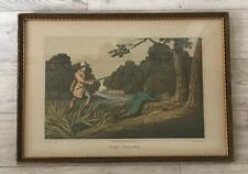 Rare Antique Framed Engraving Of Pike Fishing Circa 1820