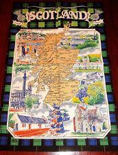 New listing Vintage Causeway Scotland Tea Towel Linen/ Cotton Points of Interest