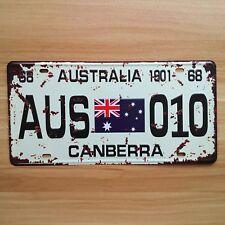 """Vintage License Car Plates """"Australia AUS-010 Canberra"""" Vintage Metal Sign Craft"""