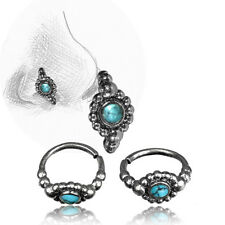 Ring 7Mm Ring Nose Stud Helix Tribal 20G Turquoise And Sterling Silver Nose