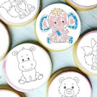 Paint Your Own PYO Forest Animals Edible Cookie Cupcake Toppers