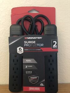 MONSTER SURGE PROTECTOR 6 GROUNDED OUTLET 2 PACK 620J 2 FT EXTENSION NEW