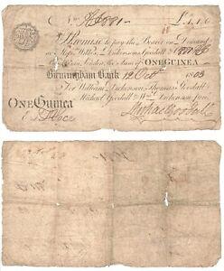 Birmingham Bank 1 Guinea Banknote (1803) RARE.