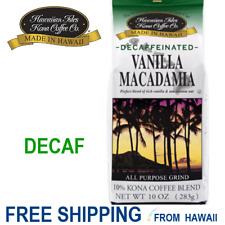 Hawaiian Isles Coffee - VANILLA MACADAMIA NUT DECAFFEINATED- 10oz Ground Decaf