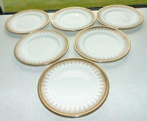 Royal Albert Paragon Athena Pattern 6 x Side Plates 16cm Gold and White