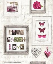 Muriva Live Laugh Love Wallpaper 131501 Butterfly Heart Rose Typography Pink