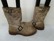 FRYE Stone Leather Engineer Biker Mid Calf Boots Womens Size 8.5 B Style 76514
