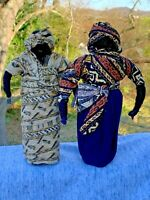 "Vintage AFRICAN BLACK DOLLS 10"" Cloth Made Yarn Native Garb VooDoo Set of 2 ❤️m9"