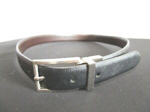 "Izod Black & Brown Reversible Faux Leather Silver Buckle Boys Belt Sz M, 24""-29"""