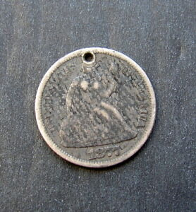 """1877 US SEATED LIBERTY DIME LOVE TOKEN ENGRAVED WITH THE LETTER """" L """""""