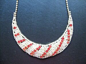 """Fashion crystal rhinestone necklace CLEAR RUBY crescent marked 20"""""""