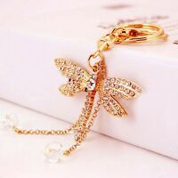 Party Charm Bag Keychain Crystal Pendant Dragonfly Key Ring Bead