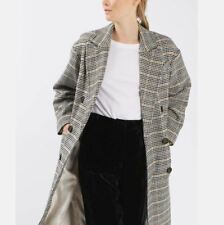 Topshop Heritage Double Breasted Check Wool Blend Long Coat