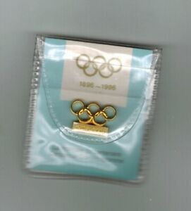 1896-1996 PIN FOR CENTENNIAL OF THE OLYMPIC COIN PROGRAM IOC ISSUE 5 RINGS NEW!