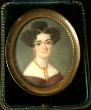 Antique Georgian Handpainted Portrait Miniature - Lady With Coral Jewelry c1820s