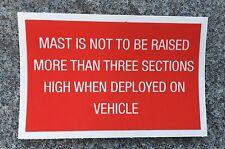 Militar Land Rover XD Lobo Bowman Clansman Clarke Mástil De Advertencia Etiqueta 3 secciones