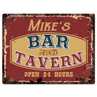 PPBT0105 MIKE'S BAR and TAVERN Rustic Tin Chic Sign Home Store Decor Gift