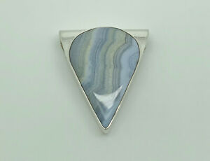 Gorgeous MD Studio Sterling Silver Blue Lace Agate Modernist Statement Pendant
