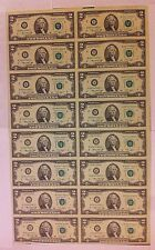 1976 Uncut Sheet $2 X 16 Crisp USA 2 Dollars Uncirculated Legal Money Gift Bills