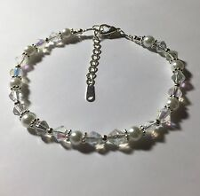 Swarovski Elements Crystal AB and White Pearl Bridal Ankle Bracelet