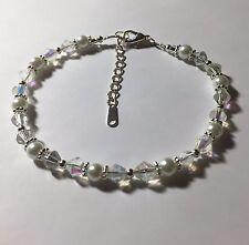 Swarovski Elements Crystal AB and White Pearl Bridal Ankle Bracelet