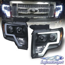 2009-2014 Ford F-150 Pickup Truck [LED Tube Bar] Black Projector Headlights Pair