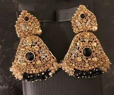 NWOT Fancy Indian Earrings Gold Black Rhinestones And Crystal Beads
