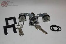 70-73 Mustang Ignition Door Lock Cylinder Set OEM Ford Logo Keys New