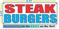 STEAK BURGERS Banner Sign NEW 2X5