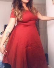 Red 50's Style Dress Size L 14