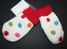 New Gymboree Girls Infant Cozy Knit Ivory Polka Mittens 0-12m NWT Winter Cheer