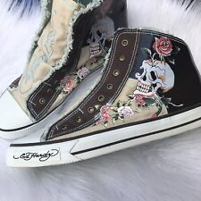 58a93a5b5536d1 Ed Hardy Mens Size 12 Canvas Slip On Sneakers Shoes Skulls Roses