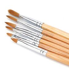 Pro Round Sable Acrylic Nail Art Brush Size 2 4 6 8 10 12 Set Pack of 6