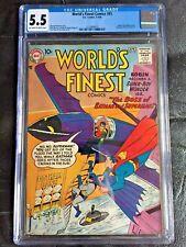WORLD'S FINEST COMICS #93 CGC FN- 5.5; OW-W; Green Arrow! scarce!
