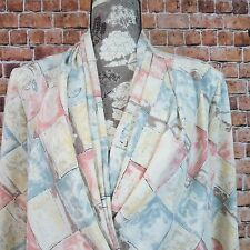 ILyssa Maxx Woman Blouse Size 10 V Neck Long Sleeve Multi Color Padded Shoulders