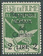 1920 FIUME REGGENZA DEL CARNARO 2 LIRE SU 5 CENT MH * - P56-7