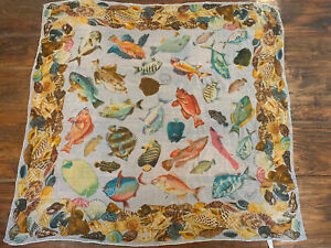 Vintage GUCCI Fish Marine Life Large Square Sheer Silk Scarf Rolled Edges Italy